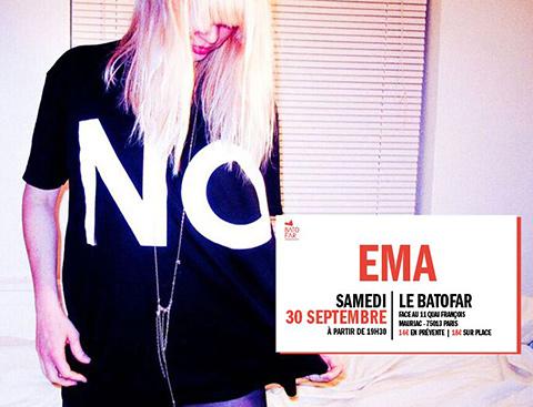 CONCOURS : gagnez 2 invitations pour 2 personnes au concert de EMA au Batofar le 30 septembre!