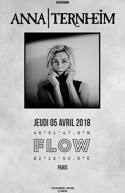 CONCOURS : gagnez 1 invitation pour 2 personnes au concert d'ANNA TERNHEIM au Flow le 5 avril!